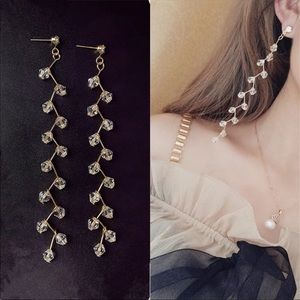 Jewelry - ✨ bundle sale✨ new EARRINGS Gold Long clear beads